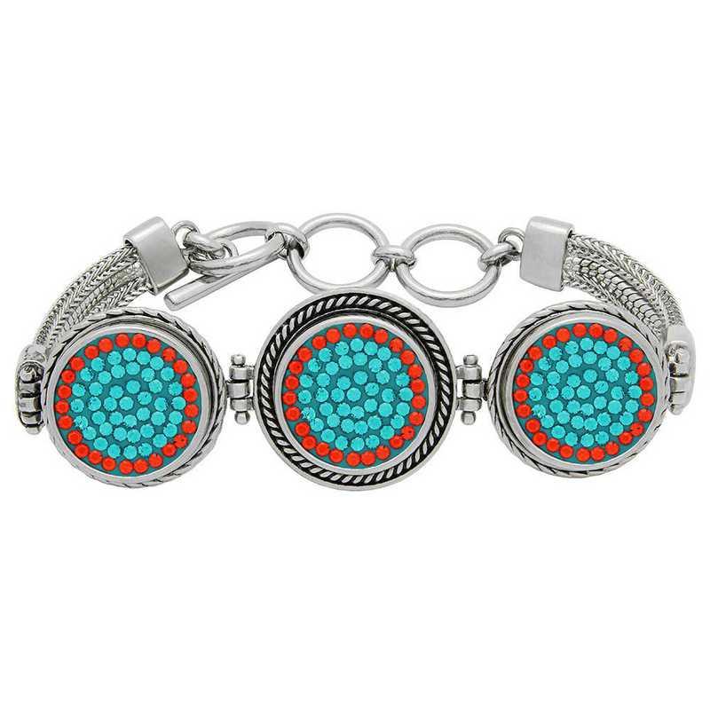 QQ-3SMB-BLZIR-HYA: 3-Snap Metal Bracelet - Blue Zircon/HYA (Teal/Tangerine)