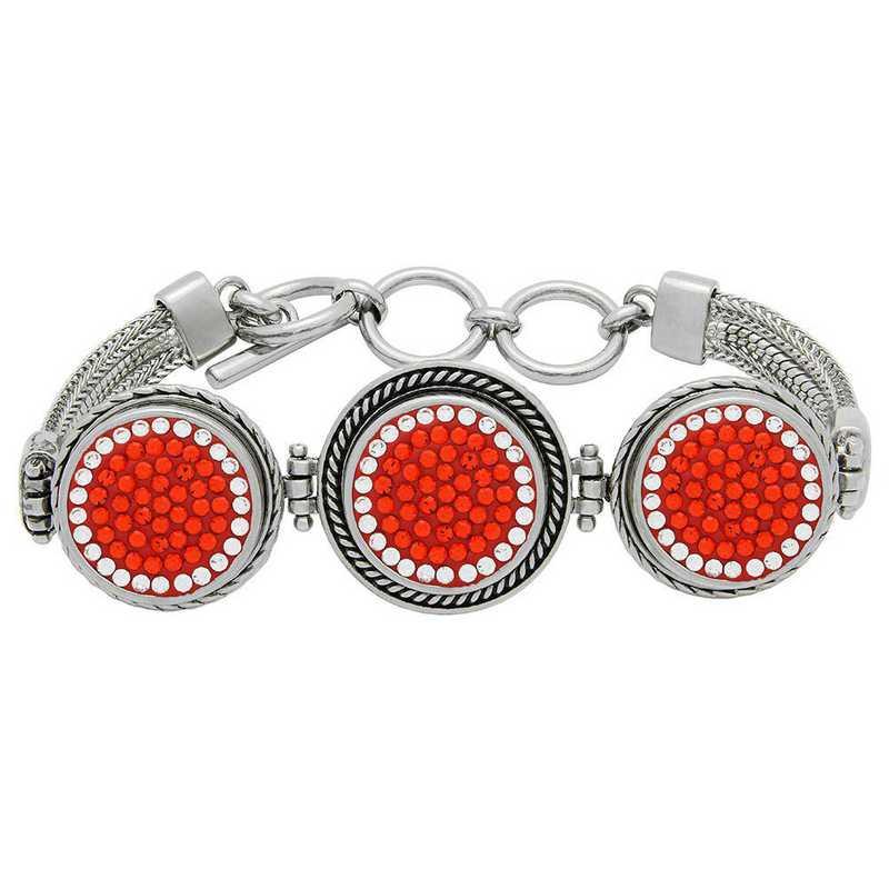QQ-3SMB-HYA-CRY: 3-Snap Metal Bracelet - HYA/CRY (Tangerine/CRY)