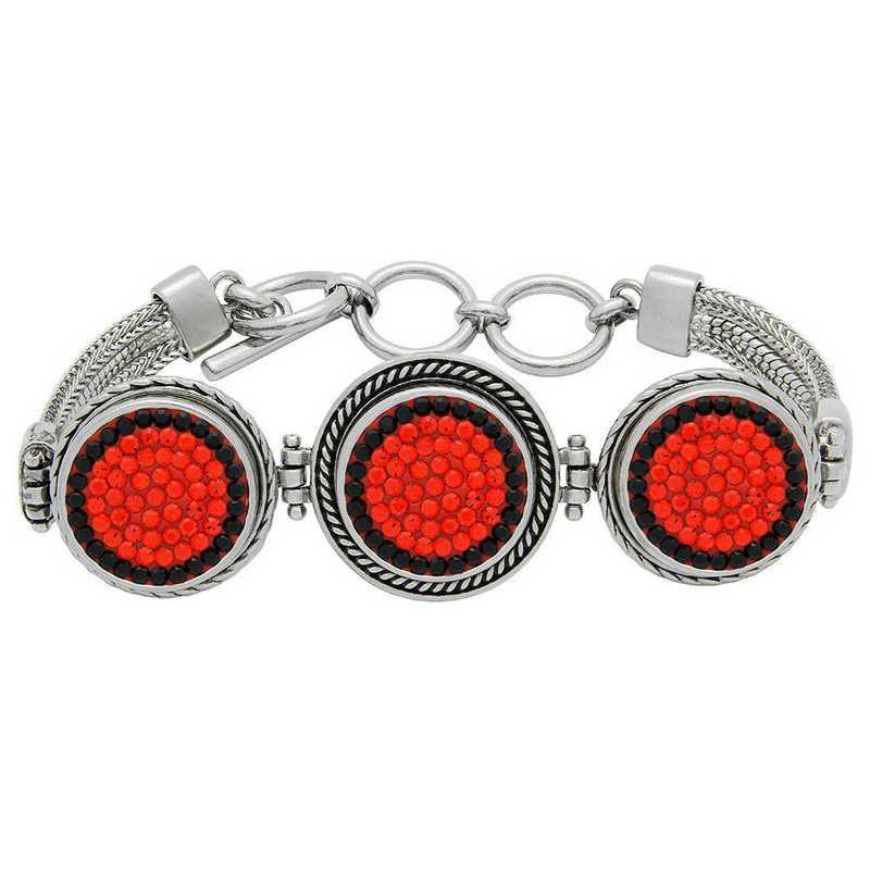 QQ-3SMB-HYA-JET: 3-Snap Metal Bracelet - HYA/Jet (Tangerine/Jet)