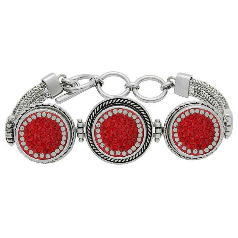 QQ-3SMB-LTSIA-BLKDIA: 3-Snap Metal Bracelet - LTSIA/Black DIA (Red/Platinum)
