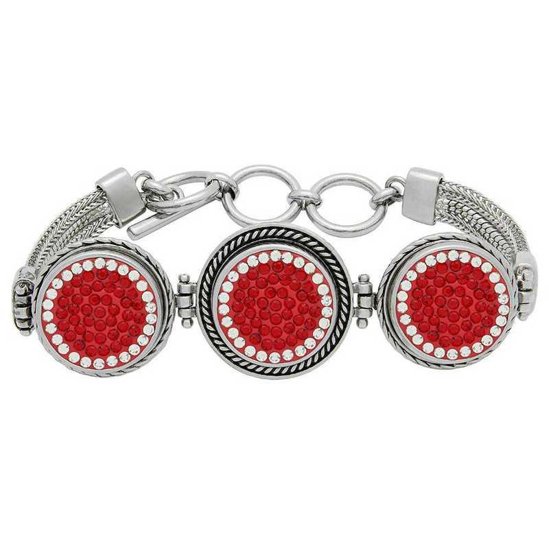 QQ-3SMB-LTSIA-CRY: 3-Snap Metal Bracelet - LTSIA/CRY (Red/CRY)
