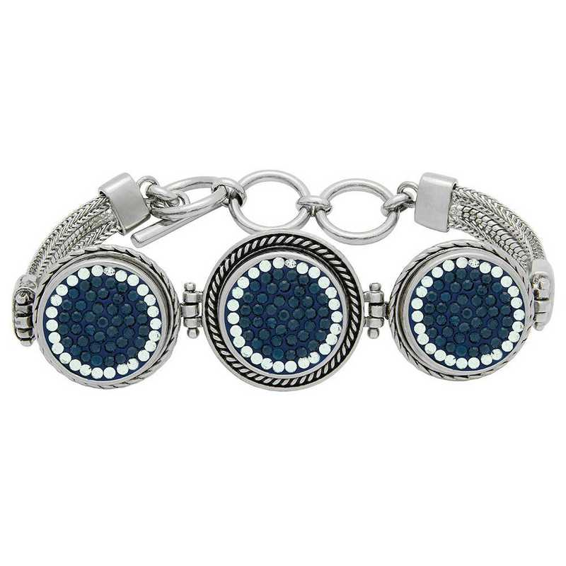 QQ-3SMB-MON-CRY: 3-Snap Metal Bracelet - MON/CRY (London Blue/CRY)