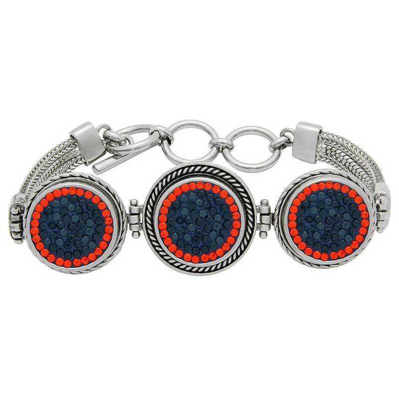 QQ-3SMB-MON-HYA: 3-Snap Metal Bracelet - MON/HYA (London Blue/Tangerine)