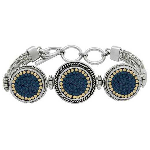 QQ-3SMB-MON-LCT: 3-Snap Metal Bracelet - MON/LCT (London Blue/Champagne)
