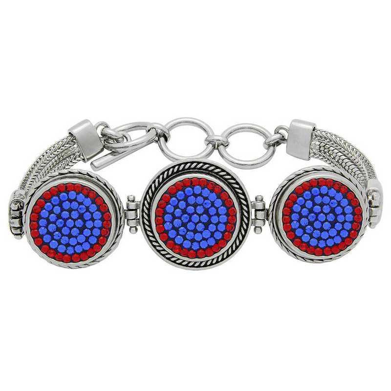 QQ-3SMB-SAP-LTSIA: 3-Snap Metal Bracelet - SAP/LTSIA (Periwinkle/Red)