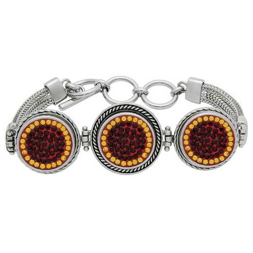 QQ-3SMB-SIA-TOP: 3-Snap Metal Bracelet - Siam/Topaz (Ruby/Pumpkin)
