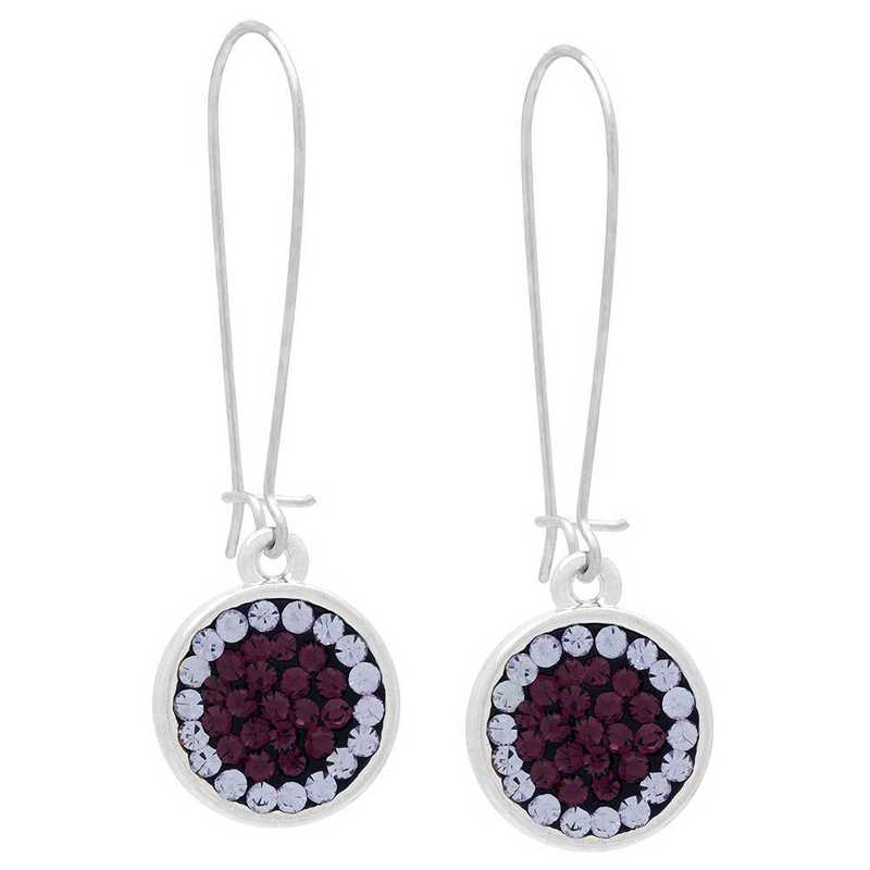 QQ-E-DANG-AME-VIO: Game Time Bling Circular Dangle Earrings-Pair - AME/Violet