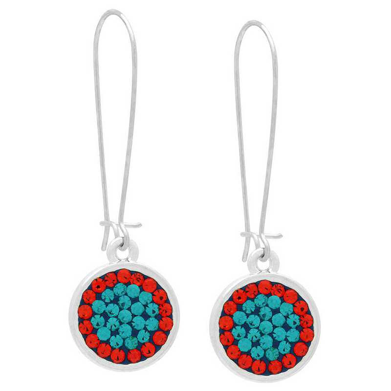 QQ-E-DANG-BLZIR-HYA: Game Time Bling Circular Dangle Earrings-Pair -Blu Zrcon/HYA