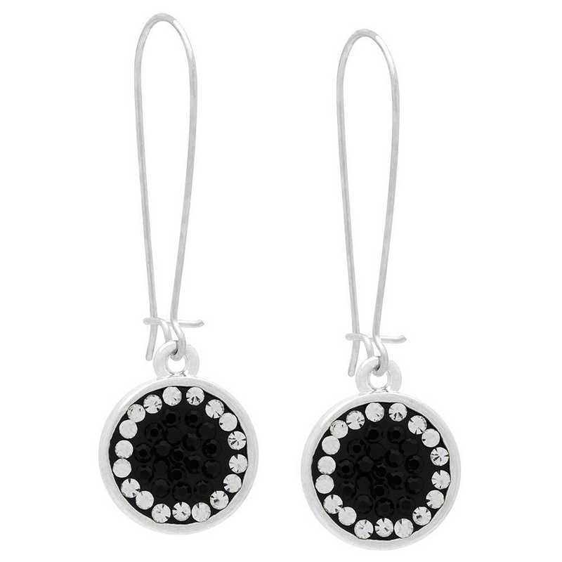 QQ-E-DANG-JET-CRY: Game Time Bling Circular Dangle Earrings-Pair - Jet/CRY