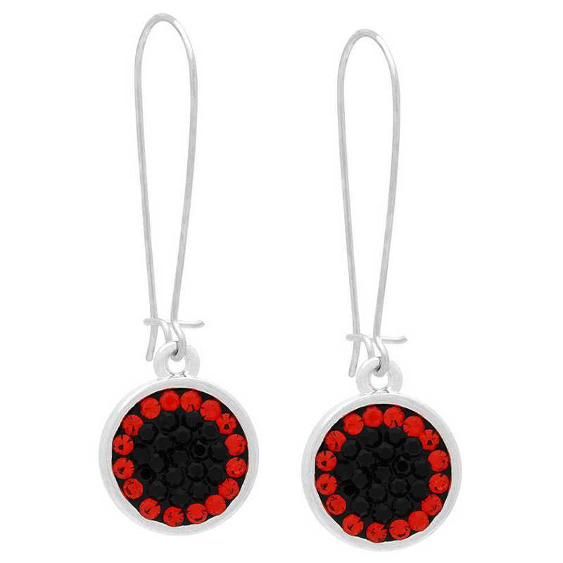 QQ-E-DANG-JET-HYA: Game Time Bling Circular Dangle Earrings - Jet/HYA