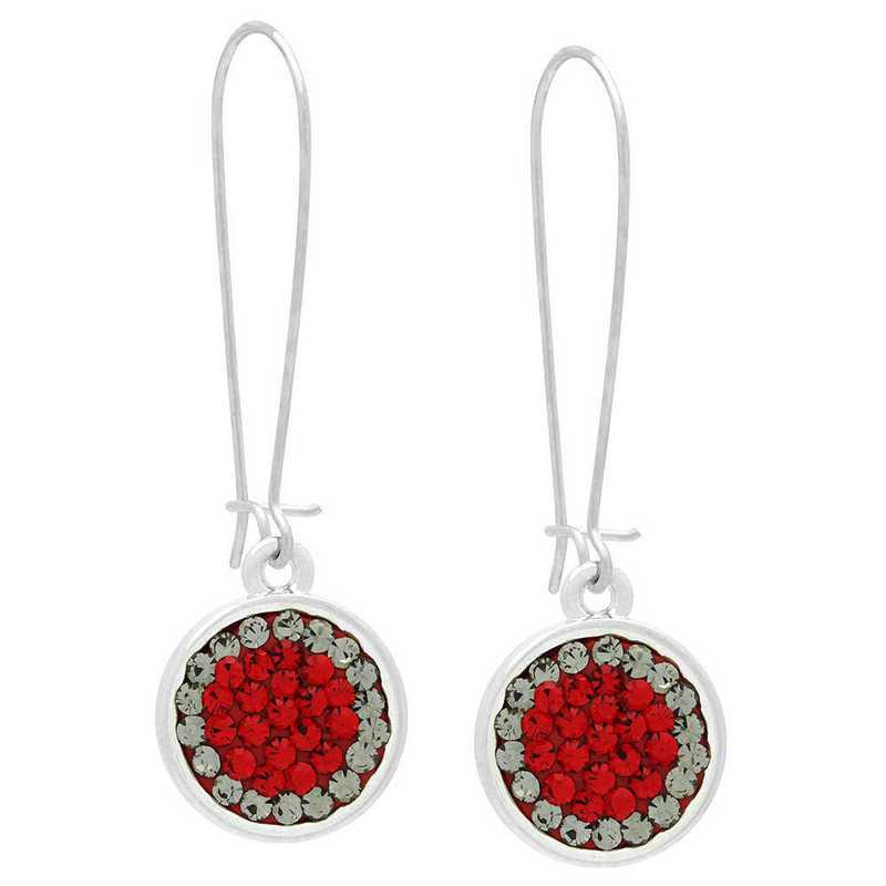 QQ-E-DANG-LTSIA-BLKDIA: Game Time Bling Circular Dangle Earrings - LTSIA/Black DIA