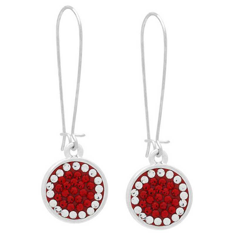 QQ-E-DANG-LTSIA-CRY: Game Time Bling Circular Dangle Earrings -LTSIA/CRY (Red/CRY)