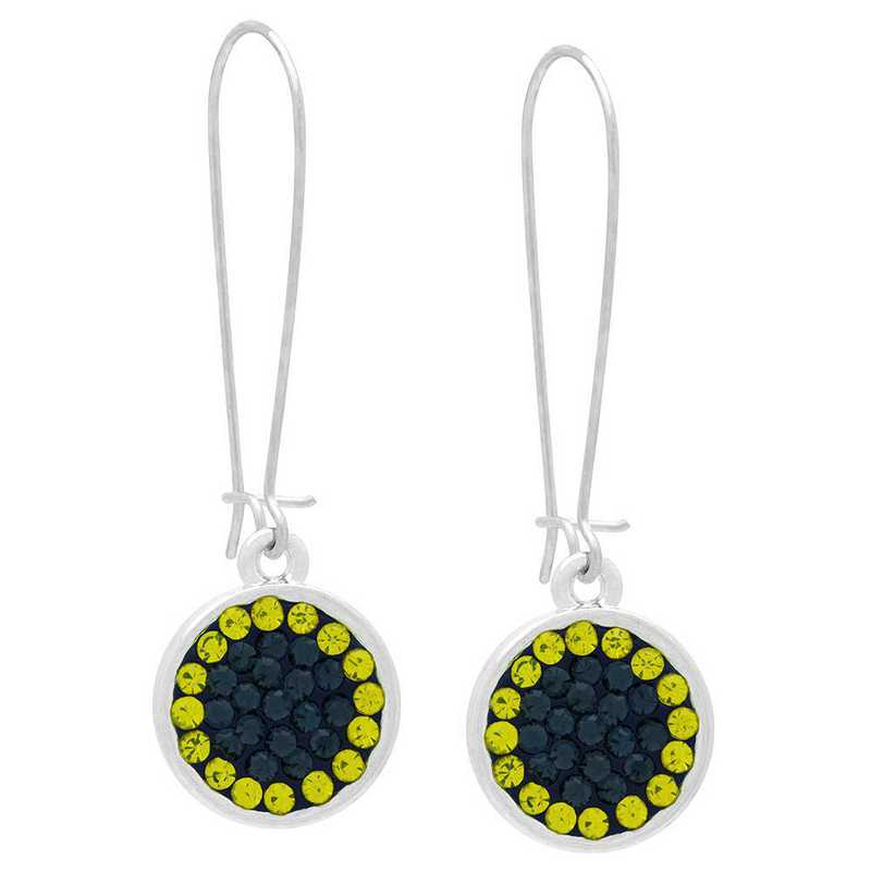 QQ-E-DANG-MON-CIT: Game Time Bling Circular Dangle Earrings - MON/Citrine