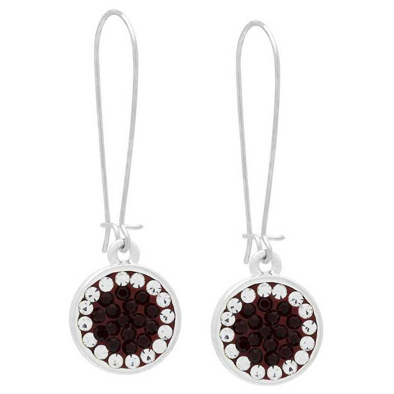 QQ-E-DANG-SIA-CRY: Game Time Bling Circular Dangle Earrings -  Siam/CRY (Ruby/CRY)