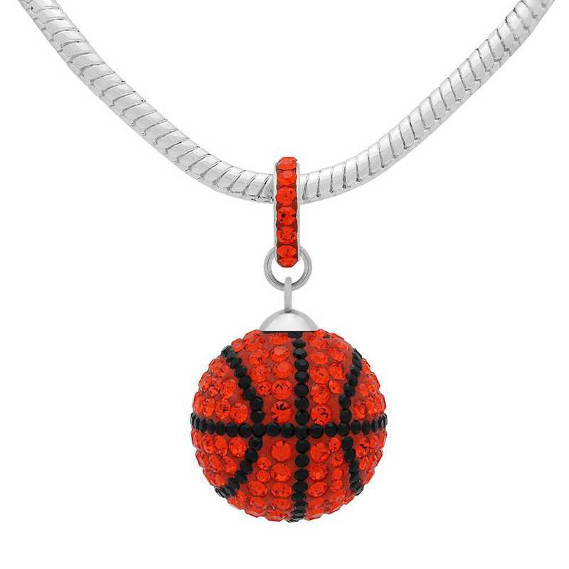QQ-L-BB-N-HYA-JET: Game Time Bling Lrg Basketball Necklace - HYA/Jet