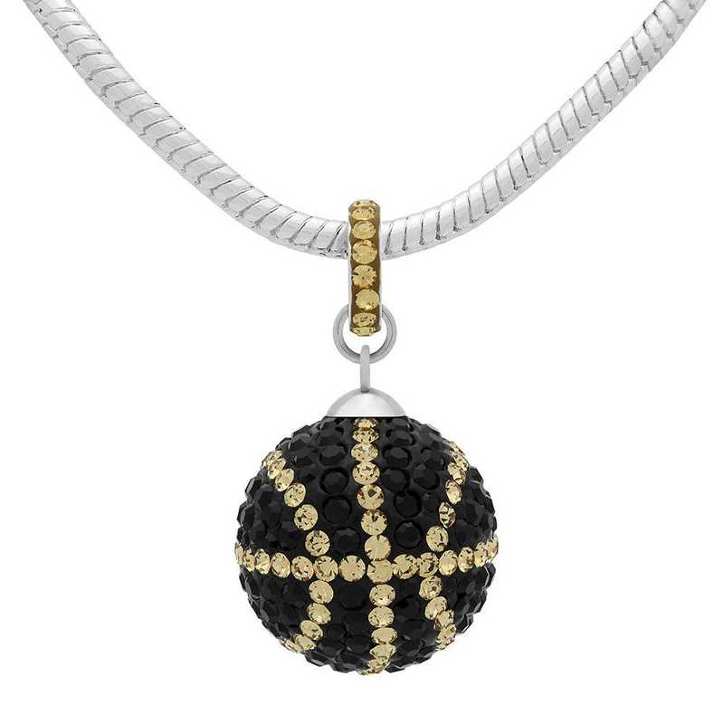 QQ-L-BB-N-JET-LCT: Game Time Bling Lrg Basketball Necklace - Jet/Lt CT