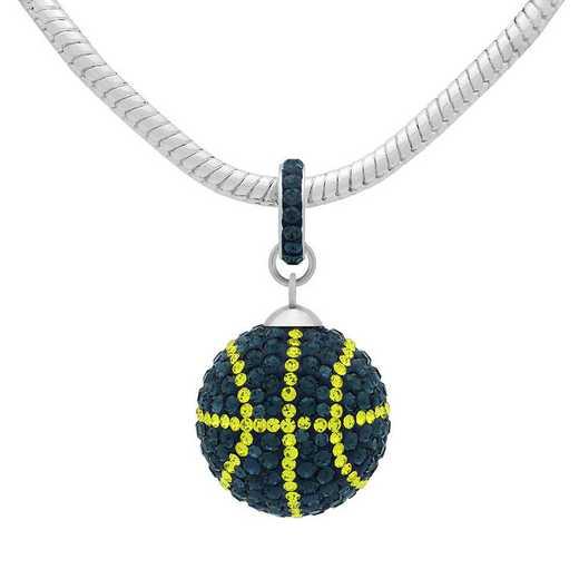 QQ-L-BB-N-MON-CIT: Game Time Bling Lrg Basketball Necklace -MON/Citrine