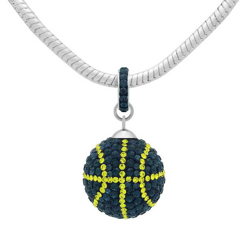 QQ-L-BB-N-MON-CIT: Game Time Bling Lrg Basketball Necklace -MON/Citrine