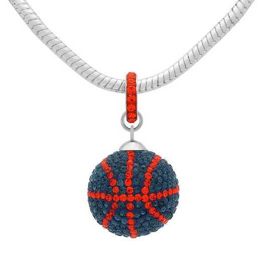 QQ-L-BB-N-MON-HYA: Game Time Bling Lrg Basketball Necklace - MON/HYA