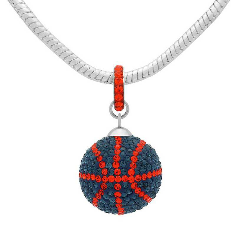 QQ-L-BB-N-MON-HYA: Game Time Bling Lrg Basketball Necklace - MON/HYA