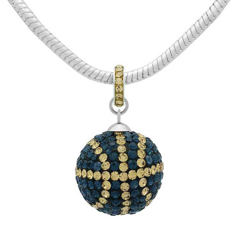 QQ-L-BB-N-MON-LCT: Game Time Bling Lrg Basketball Necklace - MON/Lt CT