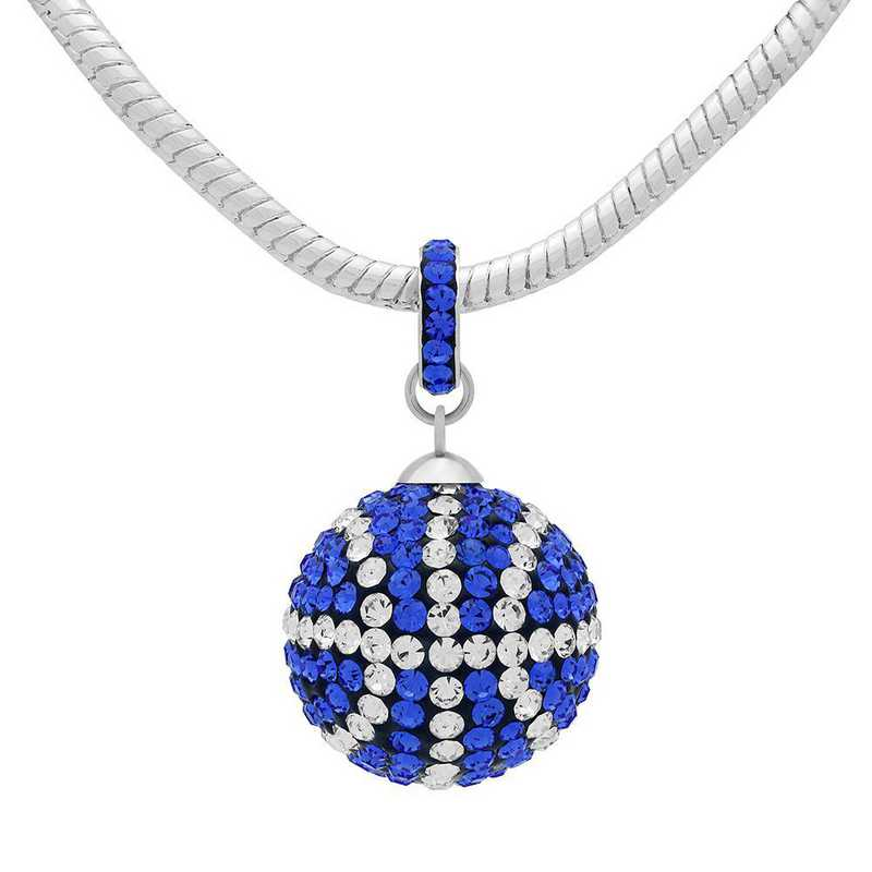 QQ-L-BB-N-SAP-CRY: Game Time Bling Lrg Basketball Necklace - Sapphire/CRY