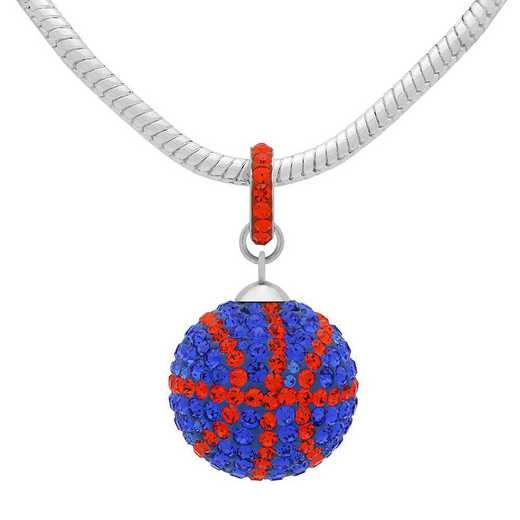 QQ-L-BB-N-SAP-HYA: Game Time Bling Lrg Basketball Necklace - Sapphire/HYA