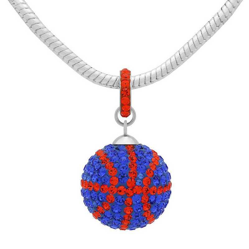 QQ-L-BB-N-SAP-HYA: Game Time Bling Lrg Basketball Necklace - Sapphire/HYA