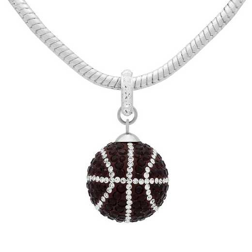 QQ-L-BB-N-SIA-CRY: Game Time Bling Lrg Basketball Necklace - Siam/CRY