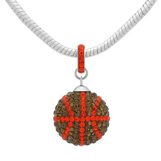 QQ-L-BB-N-SMTOP-HYA: Game Time Bling Lrg Basketball Necklace - SMTOP/HYA