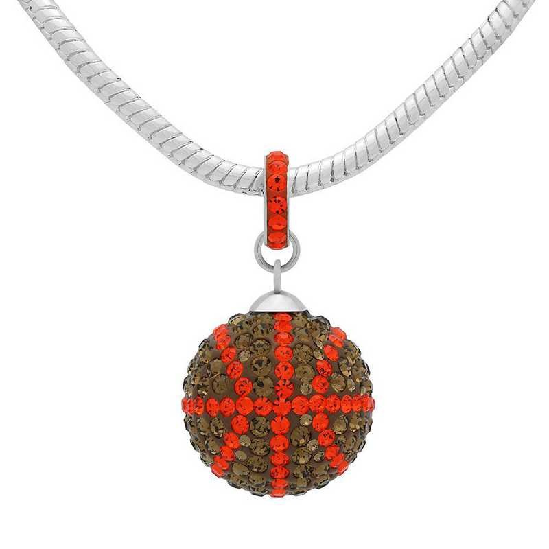 QQ-L-BB-N-SMTOP-HYA: Game Time Bling Lrg Basketball Necklace - SMTOP/HYA