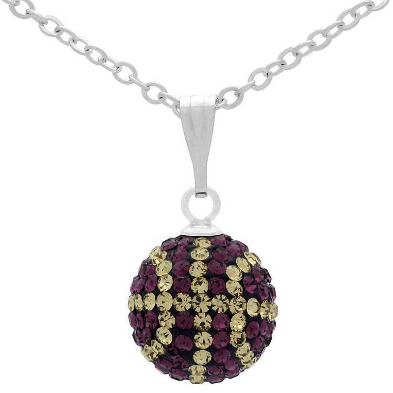QQ-M-BB-N-AME-LCT: Game Time Bling Mini Basketball Necklace -AME/Lt CT