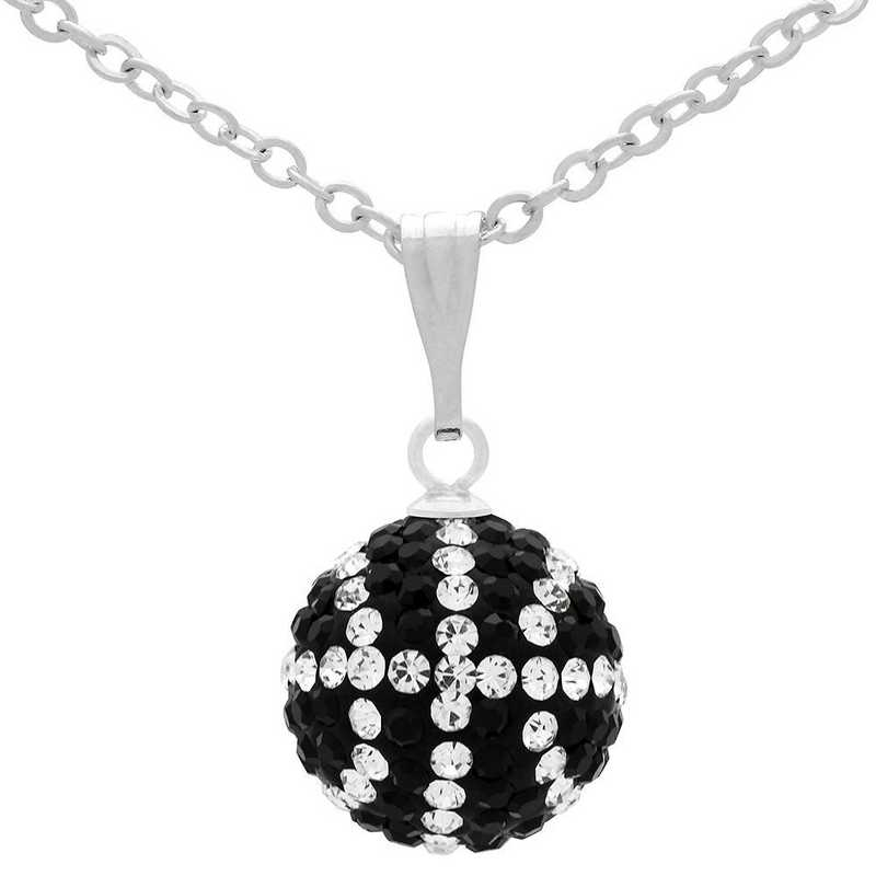 QQ-M-BB-N-JET-CRY: Game Time Bling Mini Basketball Necklace - Jet/CRY