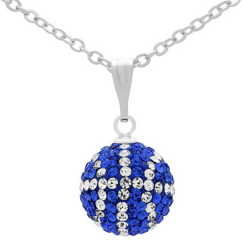 QQ-M-BB-N-SAP-CRY: Game Time Bling Mini Basketball Necklace - Sapphire/CRY