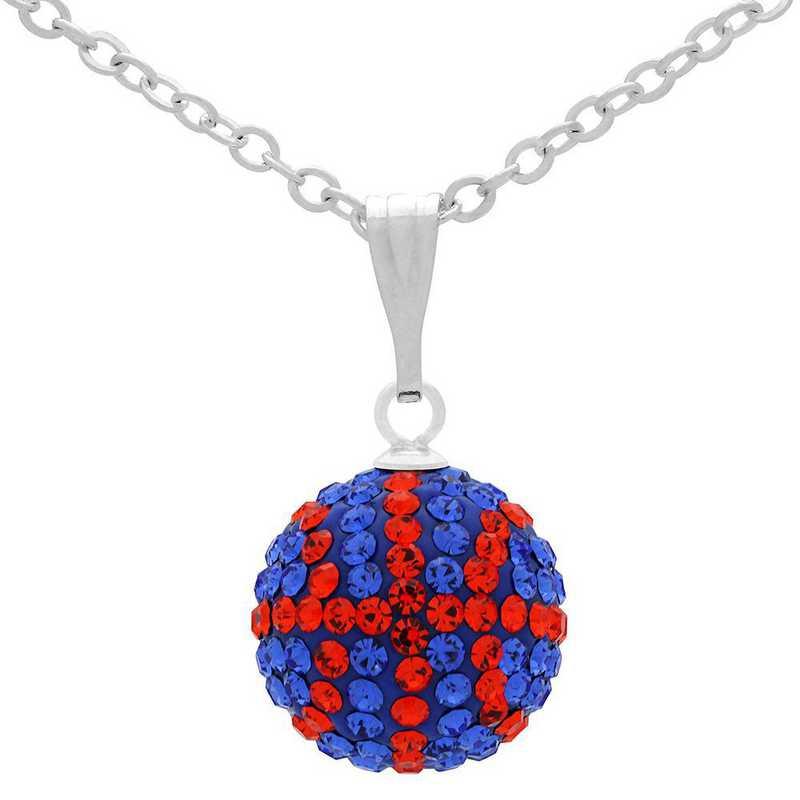 QQ-M-BB-N-SAP-HYA: Game Time Bling Mini Basketball Necklace - Sapphire/HYA