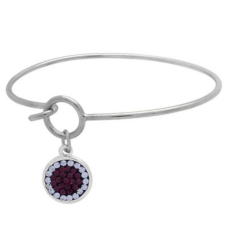 QQ-M-DANG-B-AME-VIO: Game Time Bling Circular Dangle Bracelet - AME/Violet