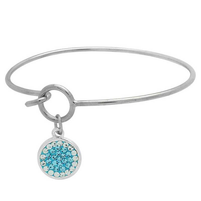 QQ-M-DANG-B-AQU-CRY: Circular Dangle Bracelet - Aquamarine/CRY