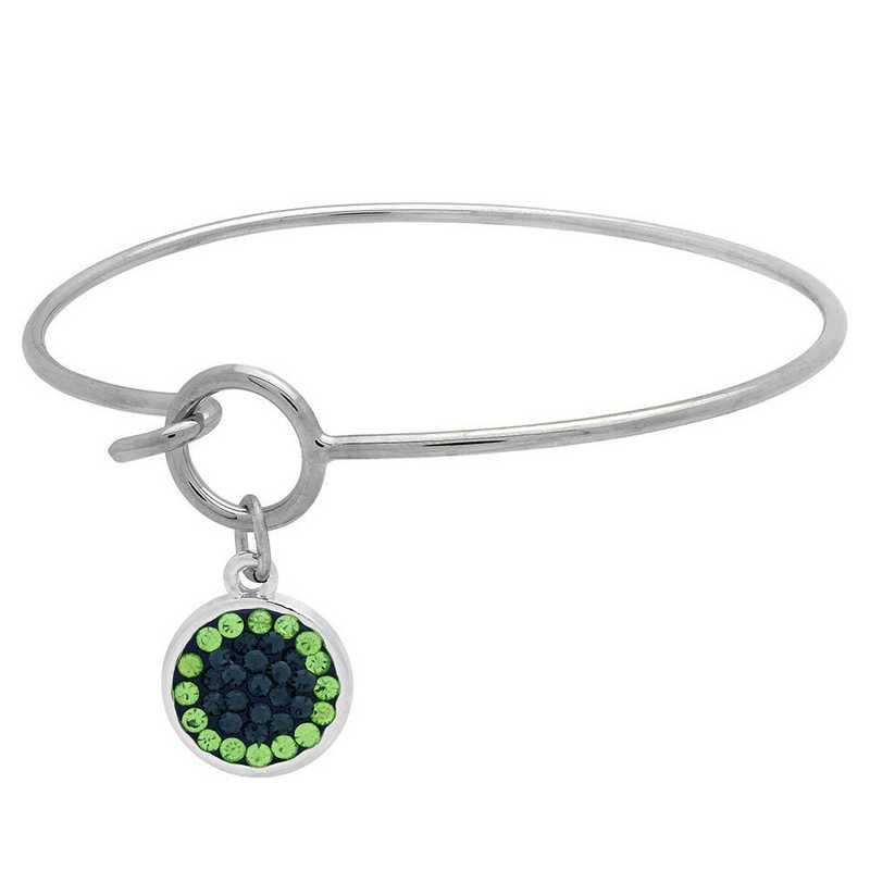 QQ-M-DANG-B-MON-PER: Game Time Bling Circular Dangle Bracelet - MON/Peridot