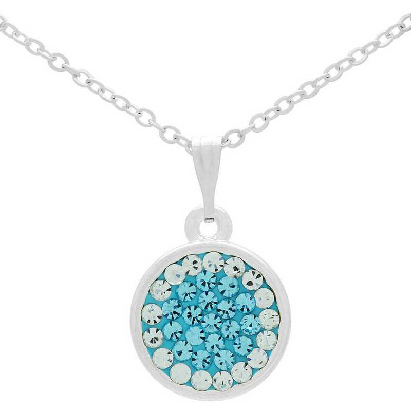 QQ-M-DANG-N-AQU-CRY: Circular Dangle Necklace - Aquamarine/CRY