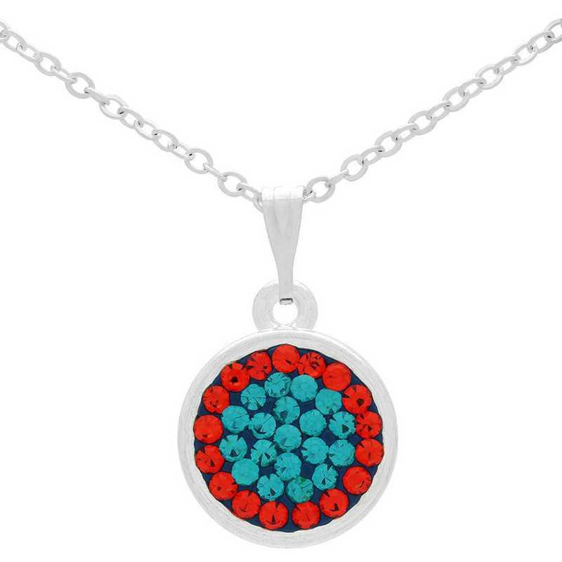 QQ-M-DANG-N-BLZIR-HYA: Game Time Bling Circular Dangle Necklace - Blue Zircon/HYA