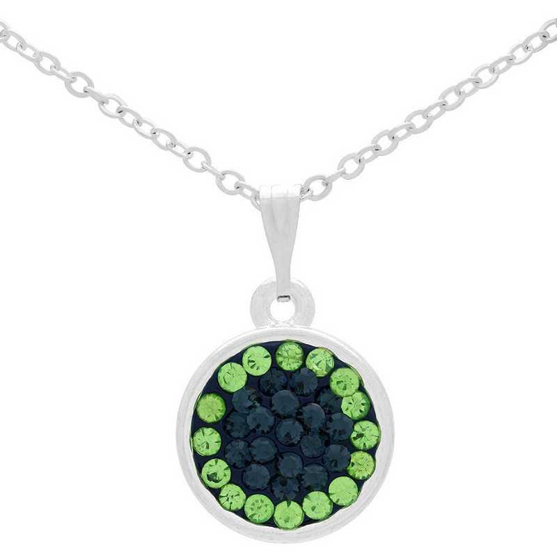 QQ-M-DANG-N-MON-PER: Game Time Bling Circular Dangle Necklace - MON/Peridot