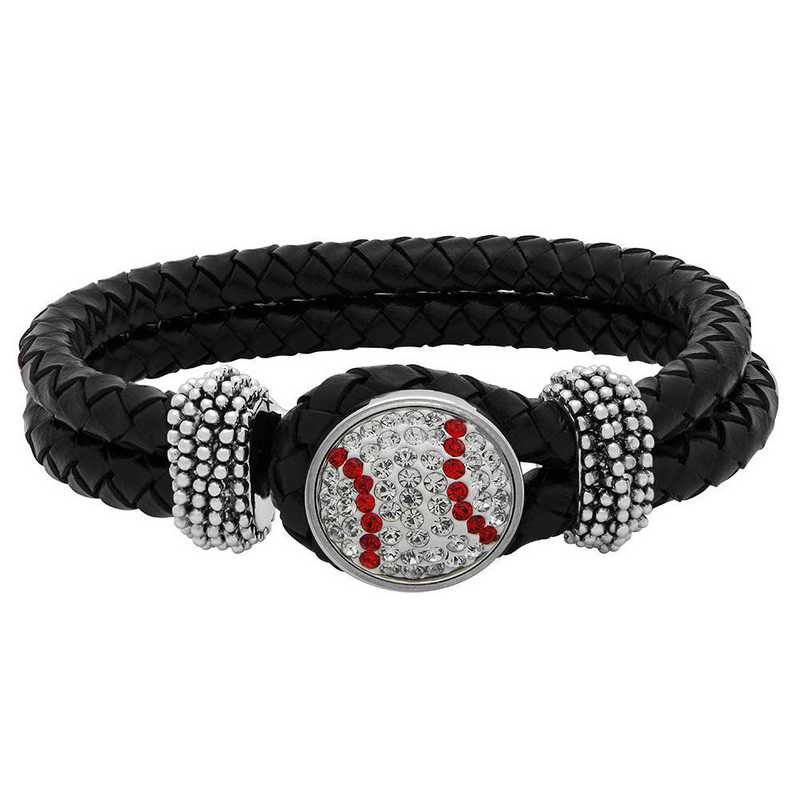 QQ-1SLB-BASEBALL-CRY-LTSIA: Baseball-1-Snap BLK Leather Bracelet - CRY/Lt Siam (CRY/Red)