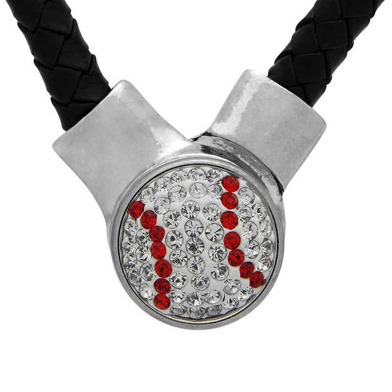QQ-1SLN-BASEBALL-CRY-LTSIA: Baseball-1-Snap BLK Leather Necklace - CRY/Lt Siam (CRY/Red)
