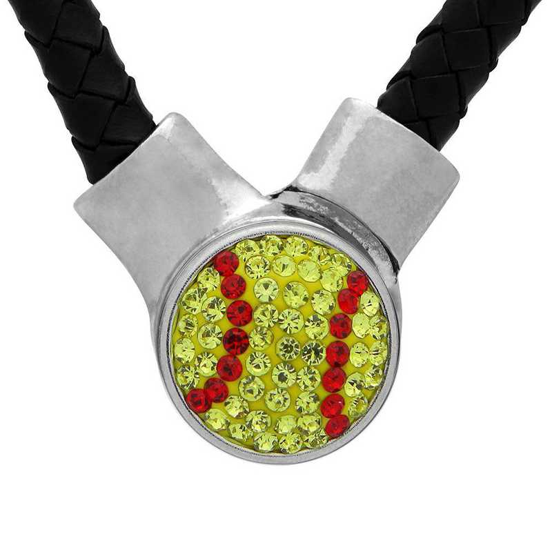 QQ-1SLN-SOFTBALL-CIT-LTSIA: Softball 1-Snap BLK Leather Necklace - Citrine/Lt Siam