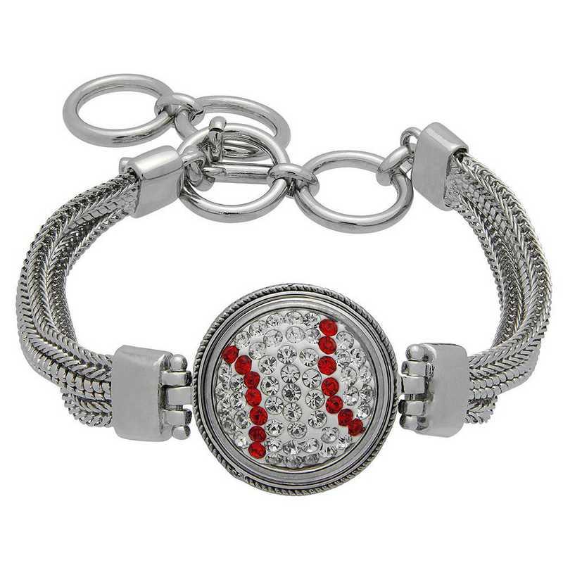 QQ-1SMB-BASEBALL-CRY-LTSIA: Baseball 1-Snap Metal Bracelet - CRY/Lt Siam (CRY/Red)