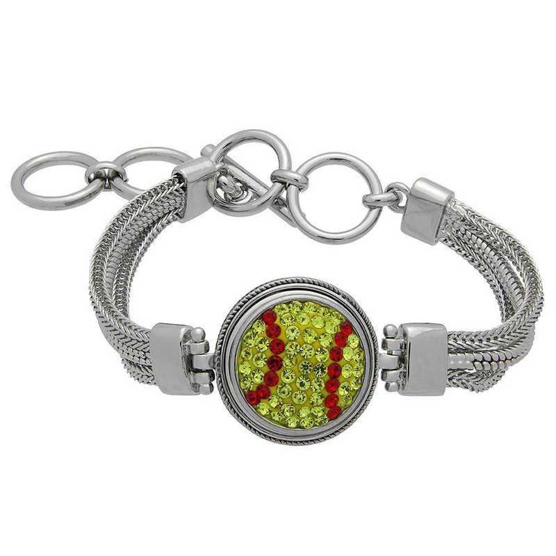 QQ-1SMB-SOFTBALL-CIT-LTSIA: Softball 1-Snap Metal Bracelet - Citrine/Lt Siam