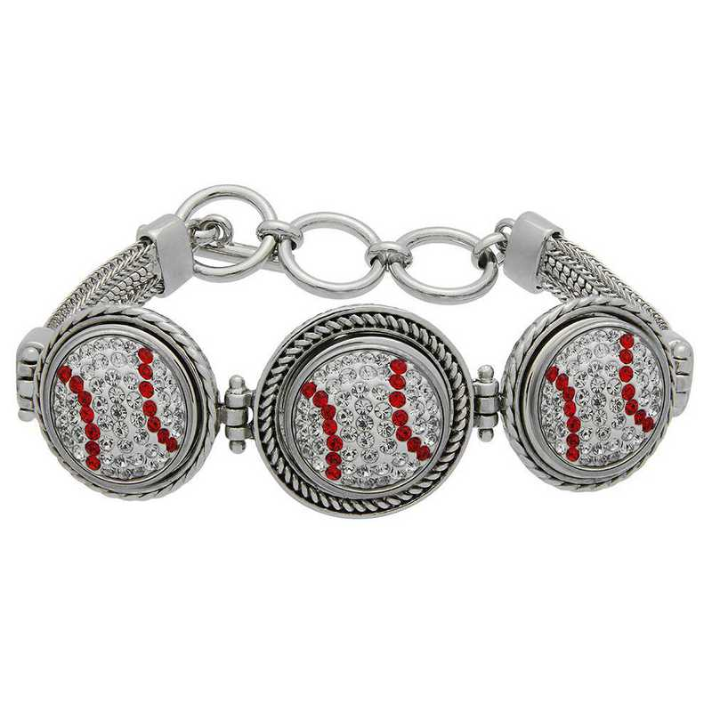 QQ-3SMB-BASEBALL-CRY-LTSIA: Baseball 3-Snap Metal Bracelet - CRY/Lt Siam (CRY/Red)