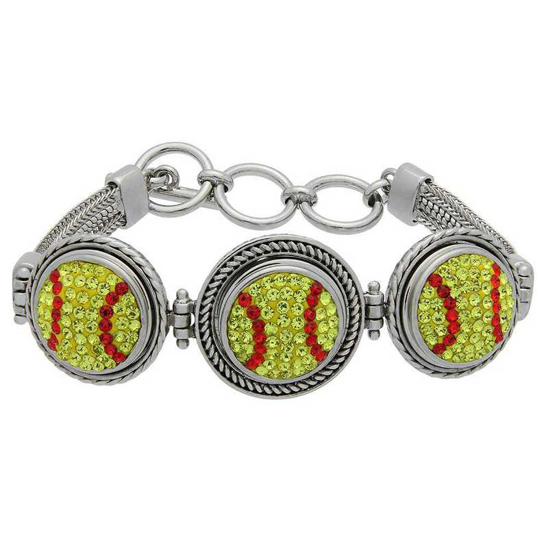 QQ-3SMB-SOFTBALL-CIT-LTSIA: Softball 3-Snap Metal Bracelet - Citrine/Lt Siam
