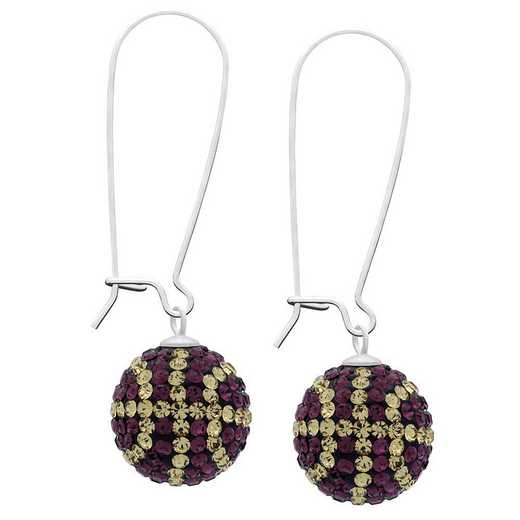 QQ-E-BB-AME-LCT: Game Time Bling Basketball Earrings -AME/Lt CT