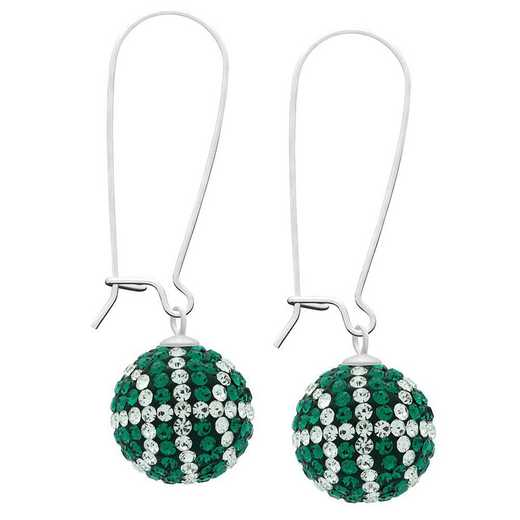 QQ-E-BB-EME-CRY: Game Time Bling Basketball Earrings - EME/CRY